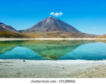 Laguna Verde is a salt lake at the foot of the volcanos Licancabur and Juriques - Eduardo Avaroa Andean Fauna National Reserve, Bolivia