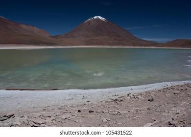Laguna Verde, and volcano Licancabur in the Eduardo Avaroa Andean Fauna National Reserve in Bolivia
