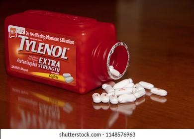 Laguna Woods, CA / USA - 08/02/2018: Jar of Tylenol Tablets