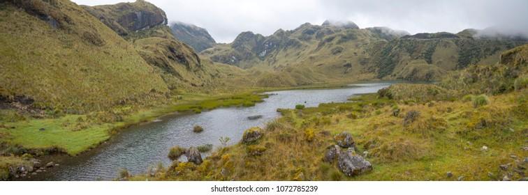 Lagunas de Atillo, glacial lakes high in the Eastern Cordillera of the Andes, Ecuador