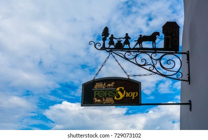 "LAGUNDO, Bolzano, september 27, 2017: the historical sign of the famous shop of birreria ""forst"". The Forst brewery, founded in 1857, is known as one of the largest breweries in the whole of Italy."