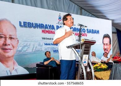Lahad Datu, Malaysia - 19 December 2016: Chief Minister Datuk Seri Musa Aman at Launching Sabah's Pan Borneo Highway-Lahad Datu  Bypass package here.
