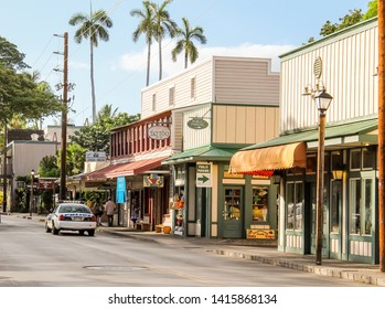 Lahaina, Hawaii, USA - July 27, 2014 - Police car strolling in the Front Street of Lahaina Old Town, Maui