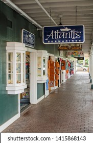 Lahaina, Hawaii, USA - July 27, 2014 - Shopping alley in Front Street, Lahaina Old Town, Maui