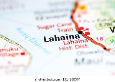 Lahaina. Hawaii. USA on a geography map