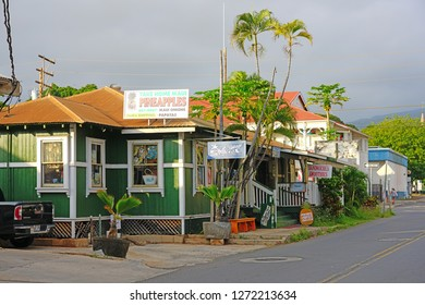 LAHAINA, HI -30 MAR 2018- View of historic buildings in Lahaina, a former missionary town and capital of Hawaii before Honolulu and a center of the global whaling industry on the island of Maui.