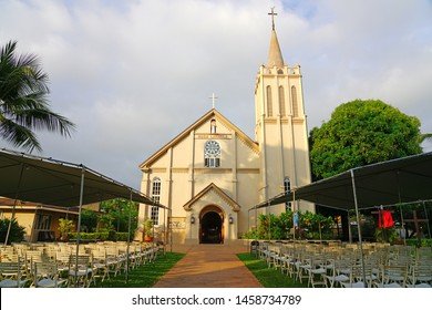 LAHAINA, HI -31 MAR 2018- View of the landmark historic Maria Lanakila catholic church in Lahaina, a former missionary town and capital of Hawaii before Honolulu on the island of Maui.