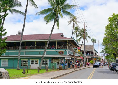 LAHAINA, HI -6 APR 2018- View of historic buildings in Lahaina, a former missionary town and capital of Hawaii before Honolulu and a center of the global whaling industry on the island of Maui.