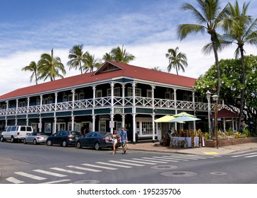 LAHAINA, HI - MAY 22: The Pioneer Inn on the Lahaina, Maui waterfront on May 22, 2014. The Pioneer Inn was built in 1901 and or a long time, the Pioneer Inn was the only hotel in Lahaina.