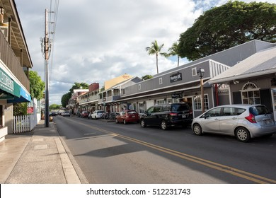 LAHAINA, HI: October 15, 2016: Lahaina waterfront shopping area.  Lahaina is in West Maui and is a popular destination for tourists visiting Maui.