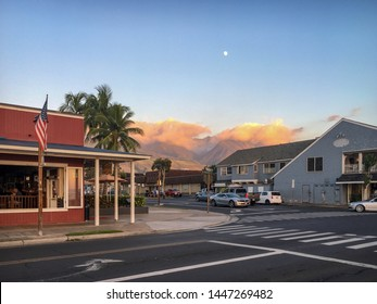 Lahaina, HI, USA - November 10th, 2016: Sunset on Front Street in Lahaina on the Hawaiian island of Maui, USA