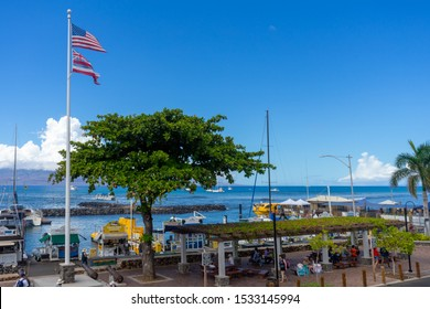 Lahaina, HI / USA – September 27, 2019: A ocean view of Lahaina Harbor in the historical town of Lahaina, Hawaii on the island of Maui.
