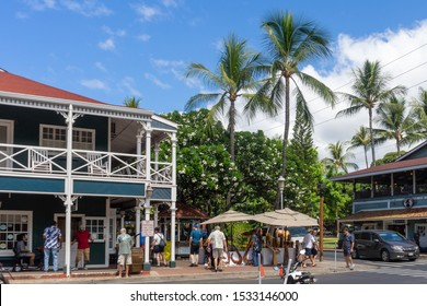 Lahaina, HI / USA – September 27, 2019: The corner of Hotel St and Front St in the town of Lahaina on the Island of Maui in Hawaii.