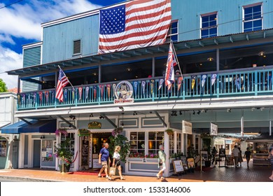 Lahaina, HI / USA – September 27, 2019: Located on Front Street in the historical town of Lahaina, HI on the island of Maui are many restaurants and retail businesses.