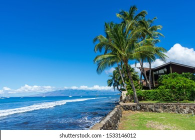 Lahaina, HI / USA – September 27, 2019: Beach front property in Lahaina, Hawaii on the island of Maui.