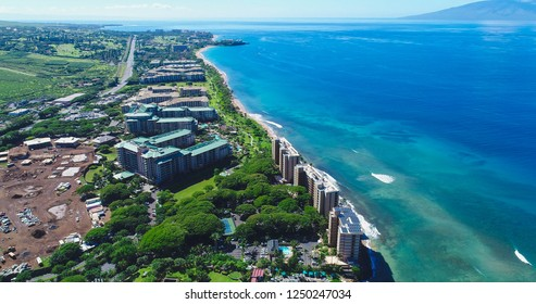 Lahaina, Maui, Hawaii - November 12, 2018: An aerial view of an several expensive resorts in a popular vacation destination on the island.