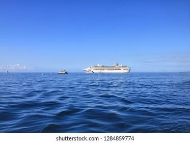 LAHAINA, MAUI, HAWAII - SEPTEMBER 18, 2012 : Dawn Princess, cruise ship of Princes Cruises line anchored at sea by Lahaina, Hawaii island.