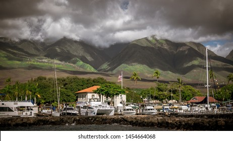 Lahaina (Maui), Hawaii/USA - September 30th 2018: Beautiful view at the Lahaina Harbor in Maui, Hawaii