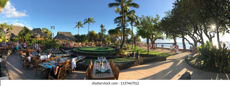 Lahaina, Maui, HI / USA - June 5, 2018: A panoramic, daytime view is shown of the Old Lahaina Luau venue, which hosts traditional Hawaiian dancing and music dinner shows.