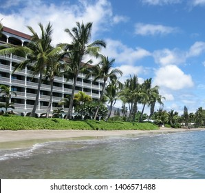 Lahaina, Maui, USA - July 19, 2014 - Lahaina Shores Beach Resort seen from the seaside
