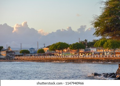 Lahaina town view at sunset on the island of Maui, Hawaii.