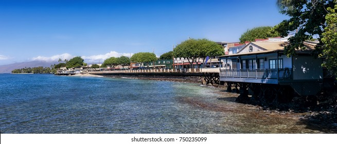 Lahaina's waterfront, located on Maui's West Shore, is lined with shops, restaurants and beautiful view of both Lanai and Molokai Islands.
