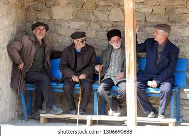 Lahic village, Azerbaijan, Caucasus - April, 2008: Authentic Azerbaijani old men on the bench.