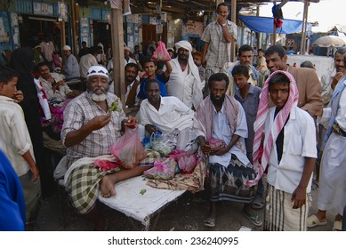 LAHIJ, YEMEN - SEPTEMBER 15, 2006: Unidentified men sell khat (Catha edulis) at the local market in Lahij, Yemen.