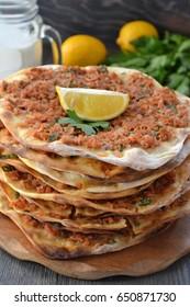 Lahmacun Lahmajoun Lahmajo Lahmajoon  - Armenian meat pie / Armenian Pizza / Armenian Flat Bread with minced meat