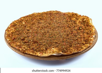 lahmacun, turkish minced meat pizza isolated on white background