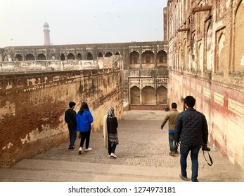 Lahore Fort, Lahore, Pakistan - 28th January 2018:  Architectural details of Mughal dynasty Lahore Fort, Pakistan