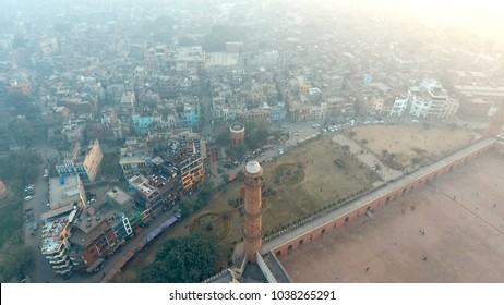 Lahore Fort - Lahore, Pakistan. Aerial view of beautiful Lahore and its historic Mughal Fort and surrounding old inner city streets