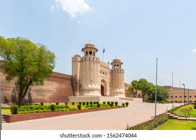 Lahore Fort Picturesque Breathtaking View of Alamgiri Gate with Waving Pakistan Flag on a Sunny Blue Sky Day