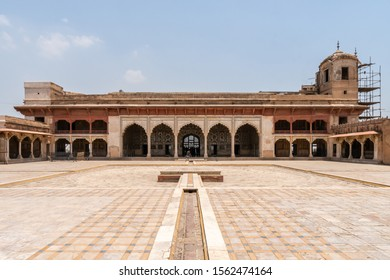 Lahore Fort Picturesque Breathtaking View of Sheesh Mahal Courtyard on a Sunny Blue Sky Day