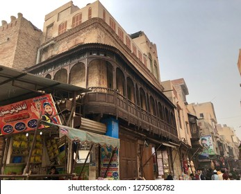 Lahore, Pakistan - 28th January 2018: Conceptual image of Street view of ancient walled city Lahore, Pakistan.