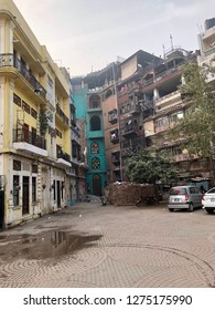 Lahore, Pakistan - 28th January 2018: Conceptual image of old inner walled city of Lahore, Pakistan - architecture, paved streets and colourful terraced houses.