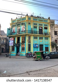 Lahore, Pakistan - 3rd Feb 2019: Beautiful terraced houses, architecture of walled city downtown Lahore.