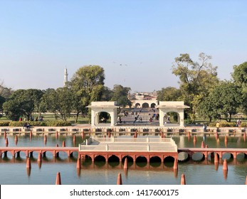 Lahore, Pakistan - 3rd Feb 2019: Architecture of Shalamar (Shalimar) Gardens, is a Mughal garden complex located in Lahore, capital of the Pakistani, Punjab.