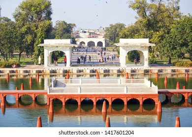 Lahore, Pakistan - 3rd Feb 2019: Architecture and fountains of Shalamar (Shalimar) Gardens, is a Mughal garden complex located in Lahore, capital of the Pakistani, Punjab.
