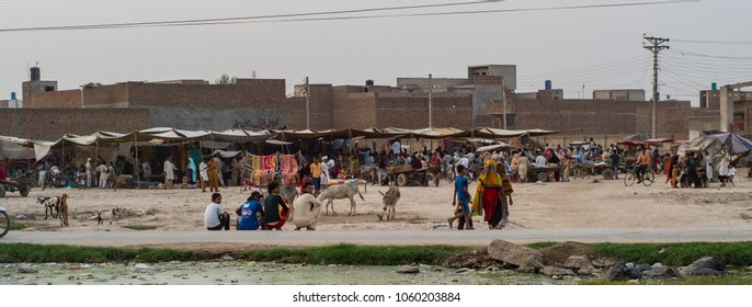 LAHORE, PAKISTAN- AUG 1 : Local market in the slum on August 1 2012 in Lahore, Pakistan. The slum is under poor hygiene condition and people suffer from serious health issues.