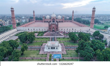 LAHORE, PAKISTAN - AUGUST 31, 2017: Aerial shot of Badshahi Masjid The Emperors Mosque and Lahore Fort.