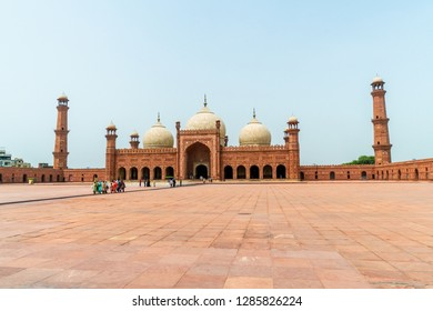 Lahore, Pakistan - August 5, 2018: Spectacular Badshahi Mosque  in Lahore, Pakistan. Popular tourist attraction. Illustrative editorial.