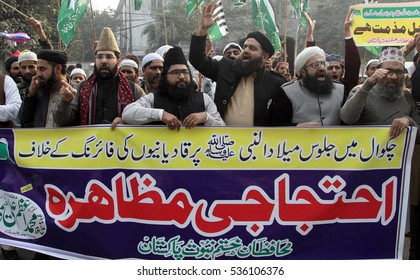 LAHORE, PAKISTAN - DEC 14: The members of Islamist religious party are holding protest demonstration against Ahmedi community on December 14, 2016 in Lahore.