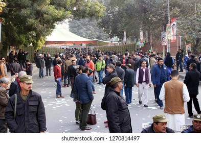 LAHORE, PAKISTAN - DEC 30: Members of Lahore Press Club convincing for their supporter candidates on occasion of LPC Election, held at press club building on December 30, 2018 In Lahore.