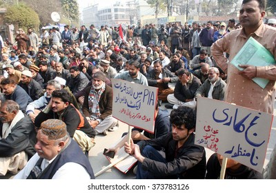 LAHORE, PAKISTAN - FEB 08: Members of Awami Workers Party chant slogans against  privatization of government state-owned entities during protest demonstration on February 08, 2016 in Lahore.