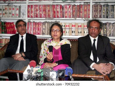 LAHORE, PAKISTAN - FEB 10: Supreme Court Bar Association (SCBA) President, Asma Jahangir gestures during press conference at her office on February 10, 2011 in Lahore.