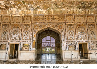 LAHORE, PAKISTAN - JUNE 2019: Fort Picturesque Breathtaking View of Sheesh Mahal Window on a Sunny Blue Sky Day