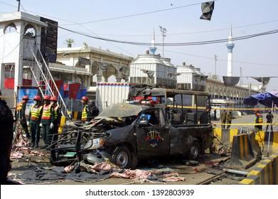LAHORE, PAKISTAN - MAY 08: Views of venue after bomb blast occurred outside Data Darbar on May 08, 2019 in Lahore. At least eight people with police man were killed and 26 others injured in blast.