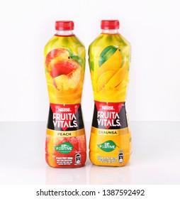 Lahore, Pakistan May 3, 2019 Chaunsa Mango and Peach Nestle Fruita Vital Juices.