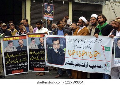 LAHORE, PAKISTAN - NOV 11: Members of Imamia Students Organization ISO are holding protest demonstration for recovery of missing ISO Chairman, Syed Razi-ul-Abbas Shamsi, on November 11, 2018 in Lahore